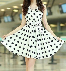 White Polka Dot Belt Bow Slim Chiffon Mini Dress