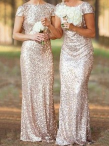 Rose Golden Plain Sequin V-Back Neck Short Sleeve Maxi Dress
