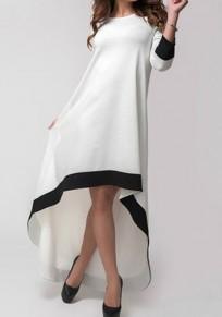 White Plain Irregular Round Neck Swallowtail Fashion Maxi Dress