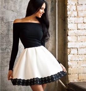 Black-White Patchwork Lace Boat Neck Long Sleeve Midi Dress
