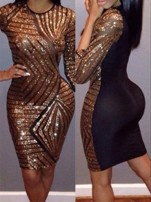 Golden-Black Sequin Round Neck Half Sleeve Bodycon Sexy Party Dress