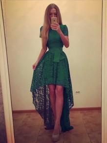 Robe maxi longue en dentelle swallowtail haut-bas manches courtes élégant de soirée vert