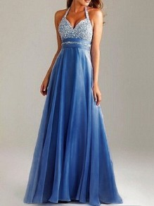 Blue Patchwork Grenadine Cut Out Floor Length Maxi Dress