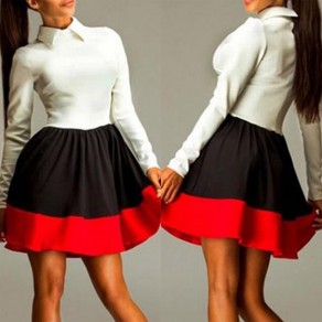 White Color Block Pleated Band Collar Long Sleeve Mini Dress