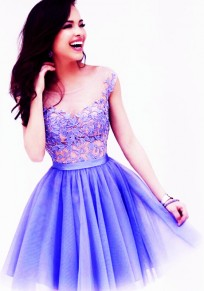 Purple Floral Grenadine Puffy Lace Sleeveless Crochet Sweet Cute Above Knee Tutu Dress