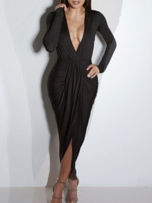 Black Plain Draped Plunging Neckline Long Sleeve Maxi Dress