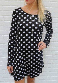 Black Patchwork Rose-Carmine Bow Polka Dot Mini Dress