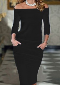 Black Plain Elegant Boat Neck 3/4 Sleeve Midi Dress