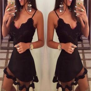 Black Patchwork Lace Grenadine Plunging Neckline Sleeveless Mini Dress