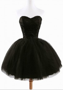 Women's Black Plain Grenadine Strapless Lace-Up Ball Gown Sweet Tutu Mini Dress