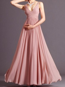 Women Pink Plain Pleated V-neck Spaghetti Straps Prom Chiffon Dress