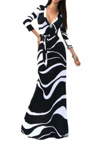 Black?And?White Striped Abstract Print V-neck 3/4 Sleeve Fashion Maxi Dress