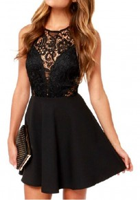 Black Patchwork Lace Pleated V-Back Neck Sexy Mini Dress