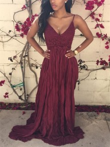 Wine Red Patchwork Lace Condole Belt Pleated Backless Maxi Dress