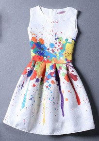 Colorful Round Neck Sleeveless Graffiti Print Cute Mini Dress