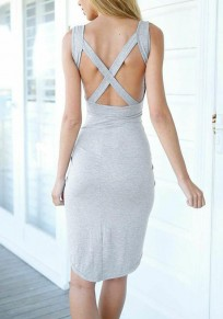 Grey Plain Irregular Cut Out Cross Back Sleeveless Midi Dress