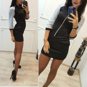 White Patchwork Black Pockets Zipper V-neck 3/4 Sleeve Mini Dress