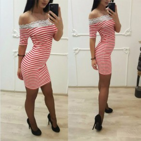Pink Patchwork Lace Striped Boat Neck Short Sleeve Mini Dress