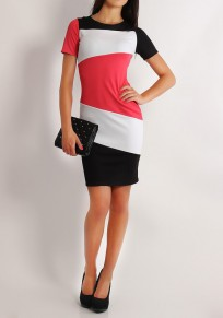 Red Color Block Round Neck Short Sleeve Mini Dress