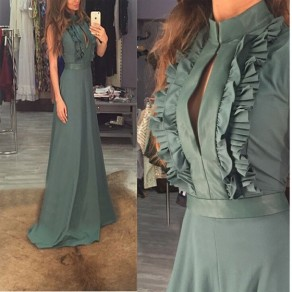 Green Plain Cut Out Buttons Ruffle Sleeveless Maxi Dress