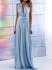 Blue Plain Irregular Pleated Plunging Neckline Maxi Dress