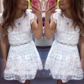White Patchwork Lace 2-in-1 Round Neck Short Sleeve Mini Dress