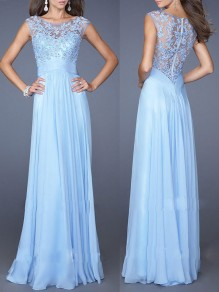 Blue Patchwork Lace Bandeau Pleated Sleeveless Fashion Prom Maxi Dress