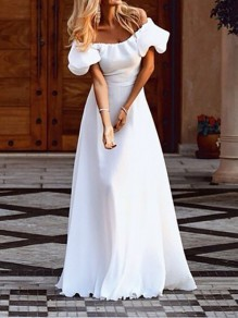 White Pleated Boat Neck Off Shoulder Short Sleeve Maxi Dress