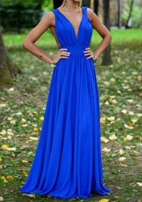 Navy Blue Plain Cut Out Pleated Plunging Neckline Maxi Dress