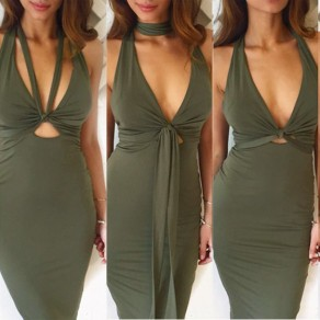 Army Green Plain Cut Out Tie Back Midi Dress