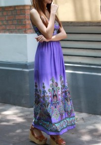 Purple Patchwork Pattern Plunging Neckline Bohemian Polyester Maxi Dress