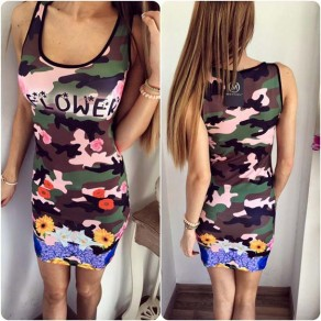 Green Camouflage Floral Round Neck Sleeveless Mini Dress