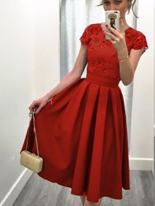 Red Plain Pleated Short Sleeve Fashion Dacron Midi Dress