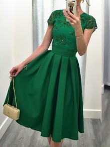 Green Plain Pleated Short Sleeve Fashion Dacron Midi Dress