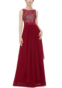 Red Patchwork Lace Irregular Grenadine Round Neck Sleeveless Maxi Dress