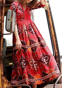 Red Floral Hollow-out Elbow Sleeve Vintage Cotton Maxi Dress