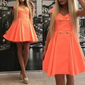 Nacarat Plain Pleated Buttons V-neck Short Sleeve Mini Dress