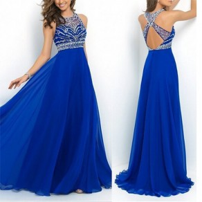 Blue Patchwork Beading Cut Out Draped Round Neck Maxi Dress