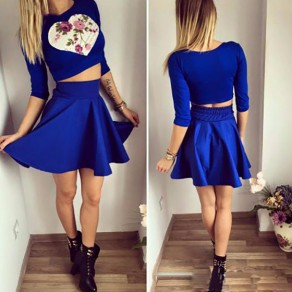 Blue Love Print Floral Pleated 2-in-1 Elbow Sleeve Mini Dress