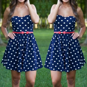 Blue Polka Dot Bandeau Collarless Sweet Cotton Mini Dress