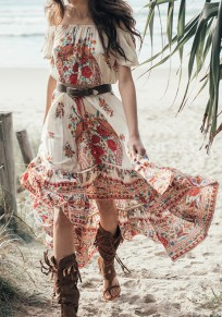Red Floral Ruffle Irregular 2-in-1 Boat Neck Maxi Dress