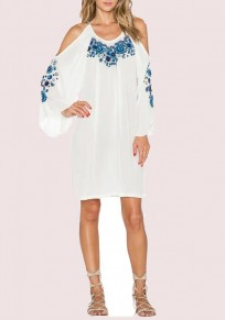 White-Blue Patchwork Pleated Embroidery Off Shoulder Round Neck Long Sleeve Mini Dress