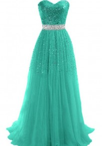 Green Patchwork Bandeau Sequin Sleeveless Polyester Maxi Dress