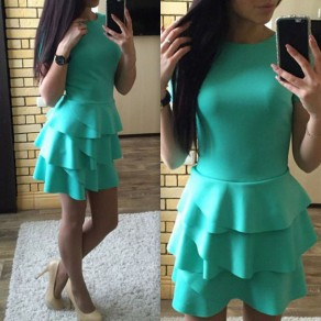 Green Plain Tiered Round Neck Casual Cotton Blend Mini Dress