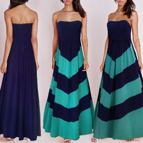 Navy Blue Color Block Draped Sleeveless Casual Polyester Maxi Dress