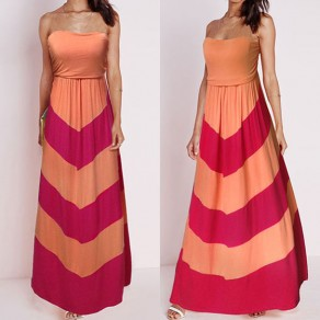 Orange Color Block Draped Sleeveless Casual Polyester Maxi Dress