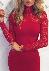 Red Patchwork Hollow-out Lace High Neck Long Sleeve Midi Dress