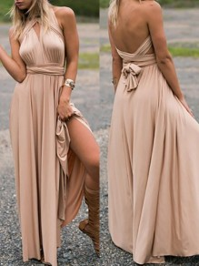 Champagne Plain Cross Back Draped Belt V-neck Maxi Dress