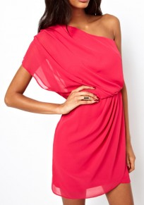 Rose Carmine Plain Asymmetric Shoulder Pleated Short Sleeve Mini Dress