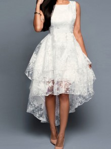 White Lace Pleated Irregular Swallowtail Multi-layer Embroidery Round Neck Prom Ball Gown Maxi Dress